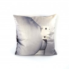 """POLYESTER CUSHION WITH PLUME PADDING """"TOILETPAPER"""" Cm.50x50 - TWO OF SPADE"""