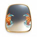 'TOILETPAPER' MIRROR WITH WOODEN FRAME Cm.54 h.59 - HAND - SNAKES