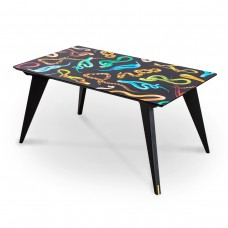 'TOILETPAPER' WOODEN TABLE Cm.157x90 h.74,5 - SNAKES