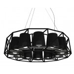 'MULTILAMP-RING' HANGING METAL LAMP WITH 12 LAMPS  ø Cm.77 h.22-BLACK