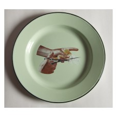 'TOILETPAPER' PLATE METAL ENAMELED ø Cm.26 - BIRD