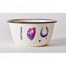 'TOILETPAPER' BOWL METAL ENAMELED ø Cm.17 h.8 - I LOVE YOU