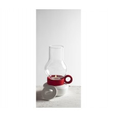 'BUGIA' PORCELAIN AND GLASS TEALIGHT HOLDER h.18 - WHITE-RED