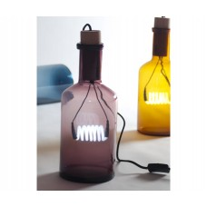 'BOUCHÉ' TABLE LIGHT IN NEON IN GLASS AND WOOD ø Cm.15 h.39-VIOLET