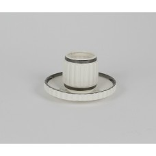 PORCELAIN COFFEE CUPS WITH SAUCER 'MACHINE COLLECTION-2'-EDGE SILVER